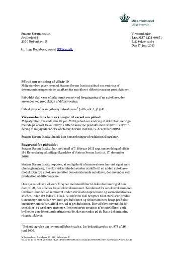 afgørelse om revurdering af Statens Seruminstitut - Miljøstyrelsen