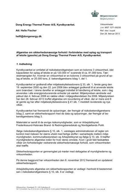 afgørelse om sikkerhedsniveau, Kyndbyværket - Miljøstyrelsen