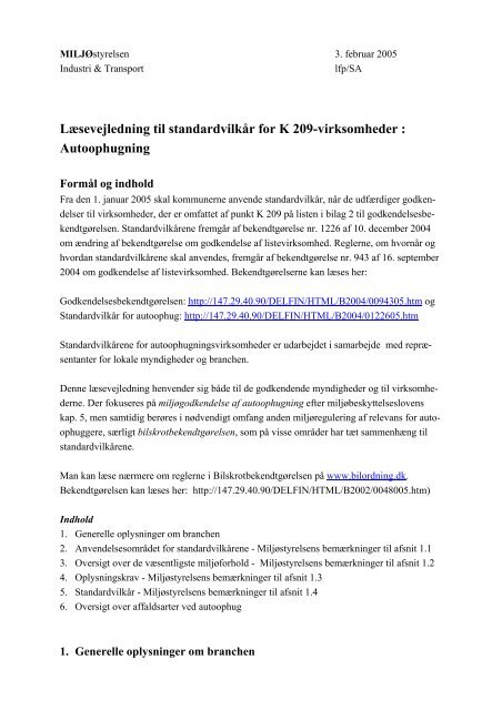 Læsevejledning til standardvilkår for K 209 ... - Miljøstyrelsen