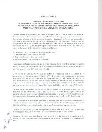 Acta de evaluación final y relación de postores aptos y no aptos