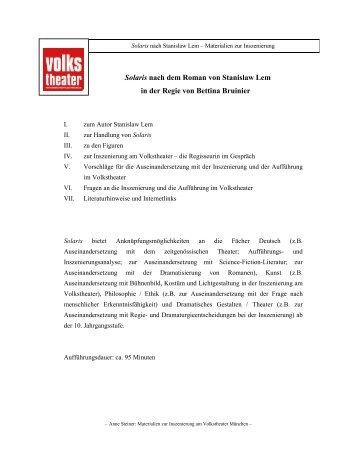 Solaris Schulmaterialien - Münchner Volkstheater