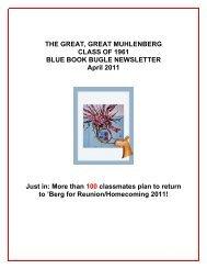 April 2011 Blue Book Bugle Newsletter - Muhlenberg College