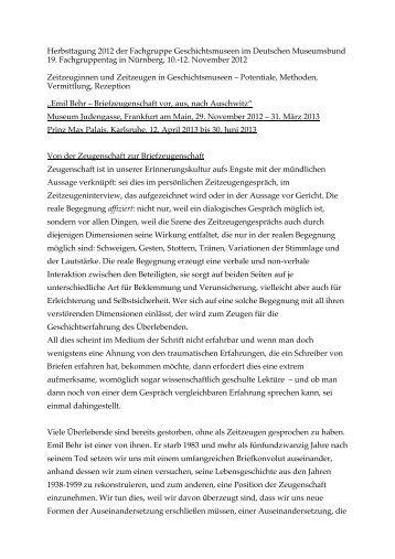Emil Behr - Ausstellungsprojekt - Deutscher Museumsbund