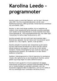 Karolina Leedo - programnoter - musikkons.dk