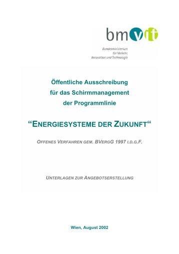 """Pflichtenheft für Ausschreibung Schirmmanagement """"Energiesystem ..."""