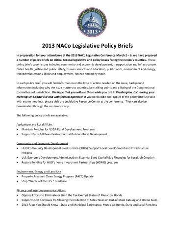 2013 NACo Legislative Policy Briefs - National Association of Counties