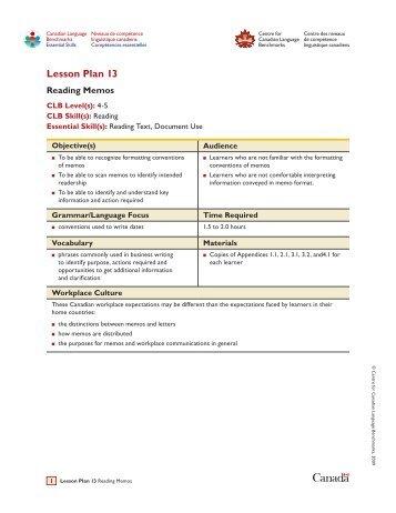 Lesson Plan 13: Reading Memos
