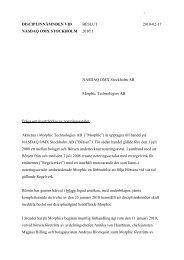 2010:1 Morphic Technologies AB Beslut - Nasdaq OMX