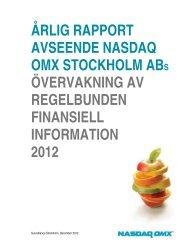 Övervakning av regelbunden finansiell information ... - Nasdaq OMX