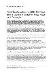 Disciplinnämnden vid OMX Nordiska Börs Stockholm ... - Nasdaq OMX