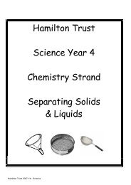 Hamilton Trust Science Year 4 Chemistry Strand Separating Solids ...