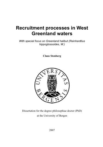 Recruitment processes in West Greenland waters - Grønlands ...