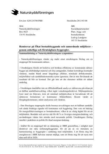 Remissvar byggkravsutredningen - Naturskyddsföreningen