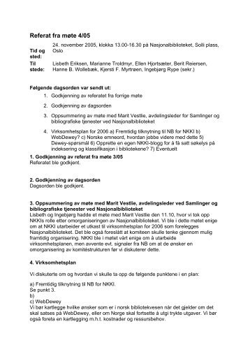 Referat fra møte 4/05 - Nasjonalbiblioteket
