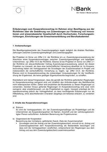 erluterung zum kooperationsvertrag bei der nbank - Kooperationsvertrag Muster Kostenlos