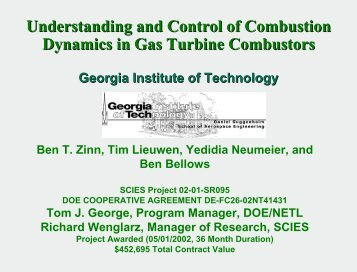 Understanding and Control of Combustion Dynamics in Gas Turbine ...