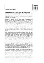 Presseinformation Die Stille Macht – Lobbyismus in Deutschland