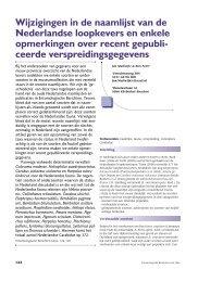 Wijzigingen in de naamlijst van de Nederlandse loopkevers en ...
