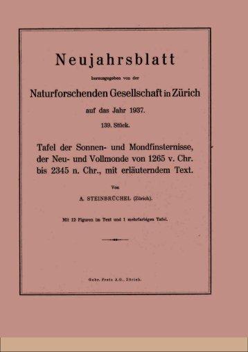 Neujahrsblatt - Naturforschende Gesellschaft in Zürich NGZH