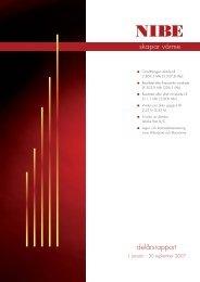 Delårsrapport (januari-september 2007) - nibe.com