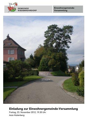 Traktandenbericht - Gemeinde Niederrohrdorf