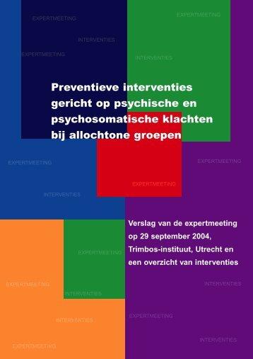 Preventieve interventies gericht op psychische en ... - NIGZ