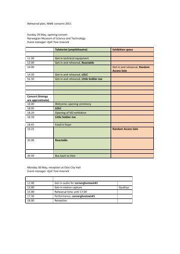 rehearsal schedule - NIME 2011