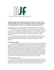 Outline of proposals for further behavioural welfare research ... - NJF