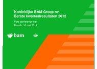 Koninklijke BAM Groep nv Eerste kwartaalresultaten 2012
