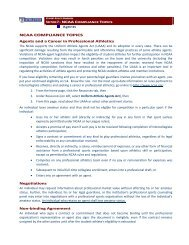 NCAA COMPLIANCE TOPICS - Home Page Content Goes Here