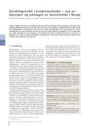 Utviklingstrekk i kredittmarkedet - utlånstyper og ... - Norges Bank