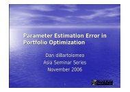Parameter Estimation Error in Portfolio Optimization - Northfield ...