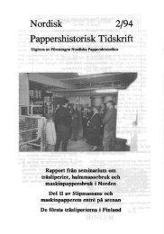 Nordisk 2/94 Pappershistorisk Tidskrift - Föreningen Nordiska ...
