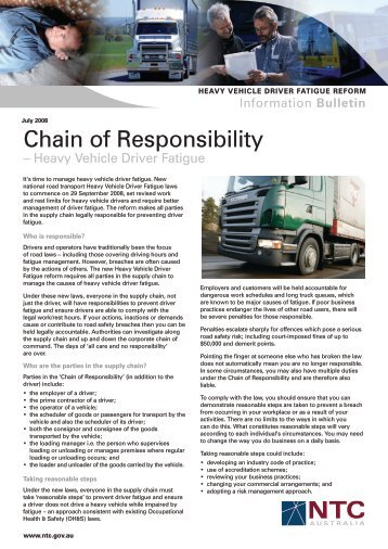 HVDF Chain of Responsibility July08 - National Transport Commission