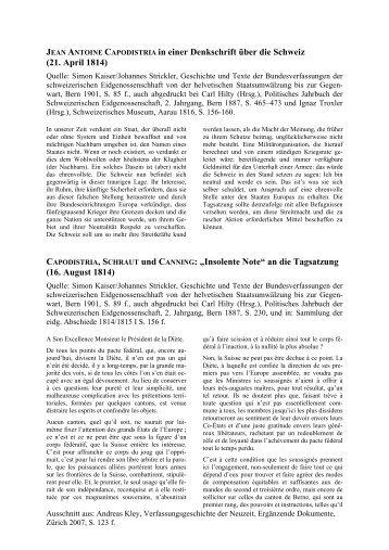 JEAN ANTOINE CAPODISTRIA in einer Denkschrift über die Schweiz