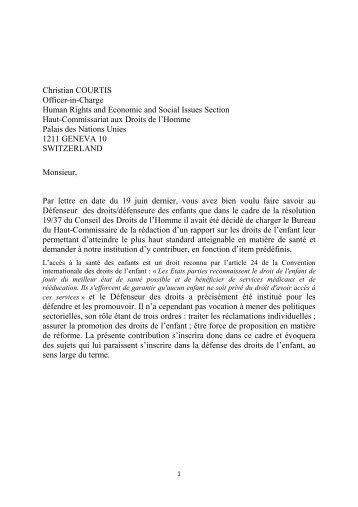 Droit à la santé - enfants. Défenseur des droits- France - Office of the ...