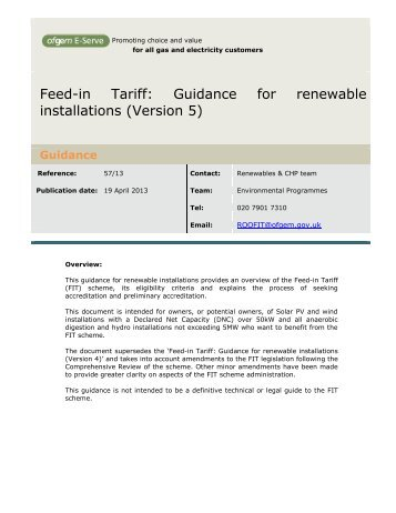 Guidance for renewable installations - Ofgem
