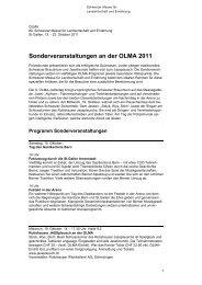 Sonderveranstaltungen an der OLMA 2011 - Olma Messen St.Gallen