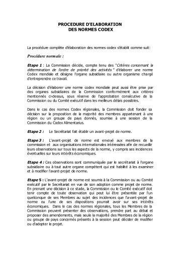 procédures de préparation - ONSSA