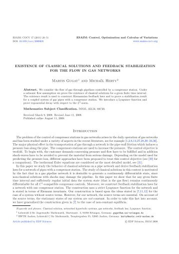 Existence of Classical Solutions and Feedback Stabilization ... - Opus