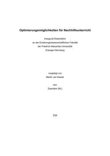 Optimierungsmöglichkeiten für Nachhilfeunterricht - Opus - Friedrich ...