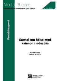 samtal med kvinnor i industrin - Örebro läns landsting