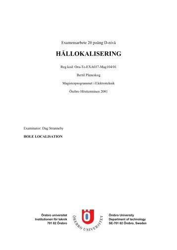 HÅLLOKALISERING - Örebro universitet