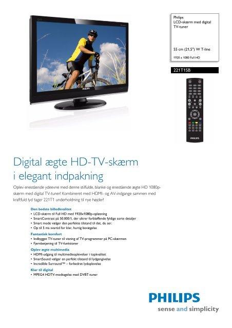 221T1SB/00 Philips LCD-skærm med digital TV-tuner