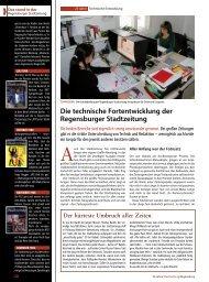 die technische Fortentwicklung der regensburger Stadtzeitung