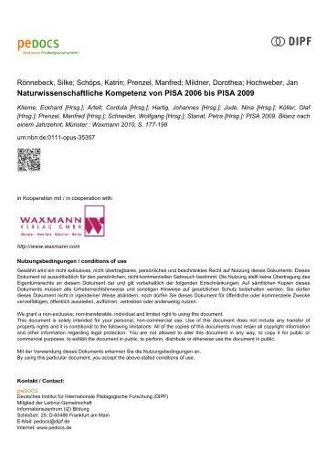 Naturwissenschaftliche Kompetenz von PISA 2006 bis ... - pedocs
