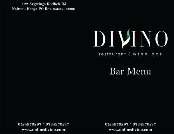 Bar Menu - Divino Restaurant & Wine Bar