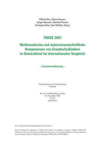 TIMSS 2007 Mathematische und naturwissenschaftliche ...