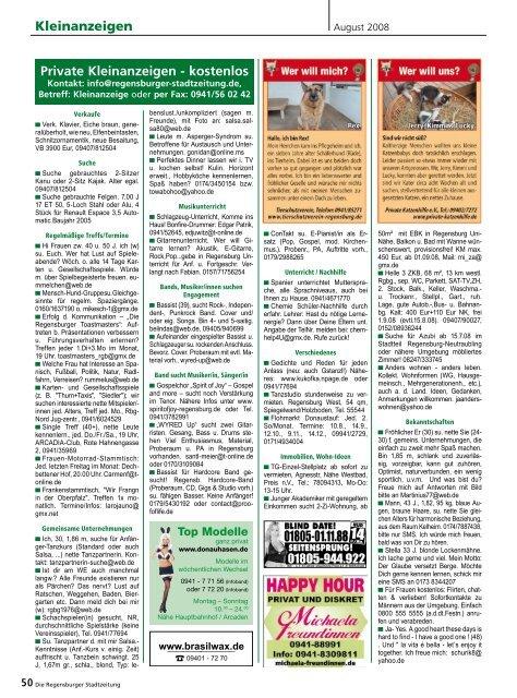 Private Kleinanzeigen Kostenlos Regensburger Stadtzeitung