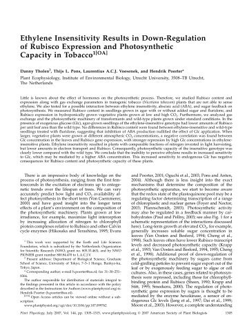 Ethylene Insensitivity Results in Down-Regulation ... - Plant Physiology